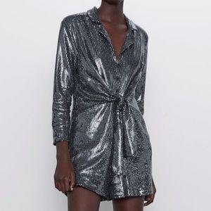 NWT Zara dark grey/silver sequins romper - size S
